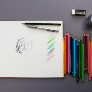 colored pencil, pencil, eraser